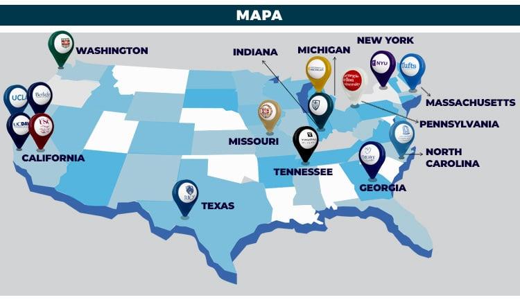 Mapa com localizações de universidades americanas