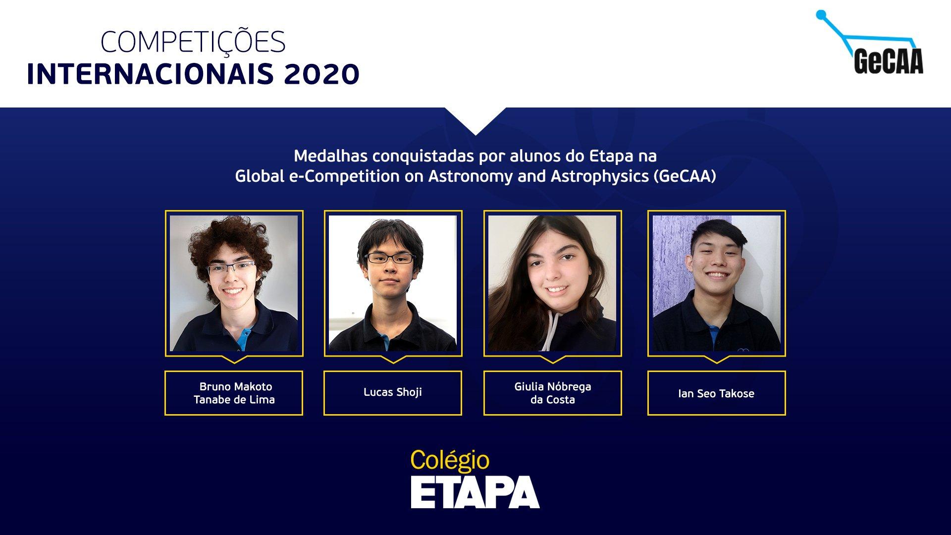 Quatro alunos do Colégio Etapa subiram ao pódio da GeCAA 2020