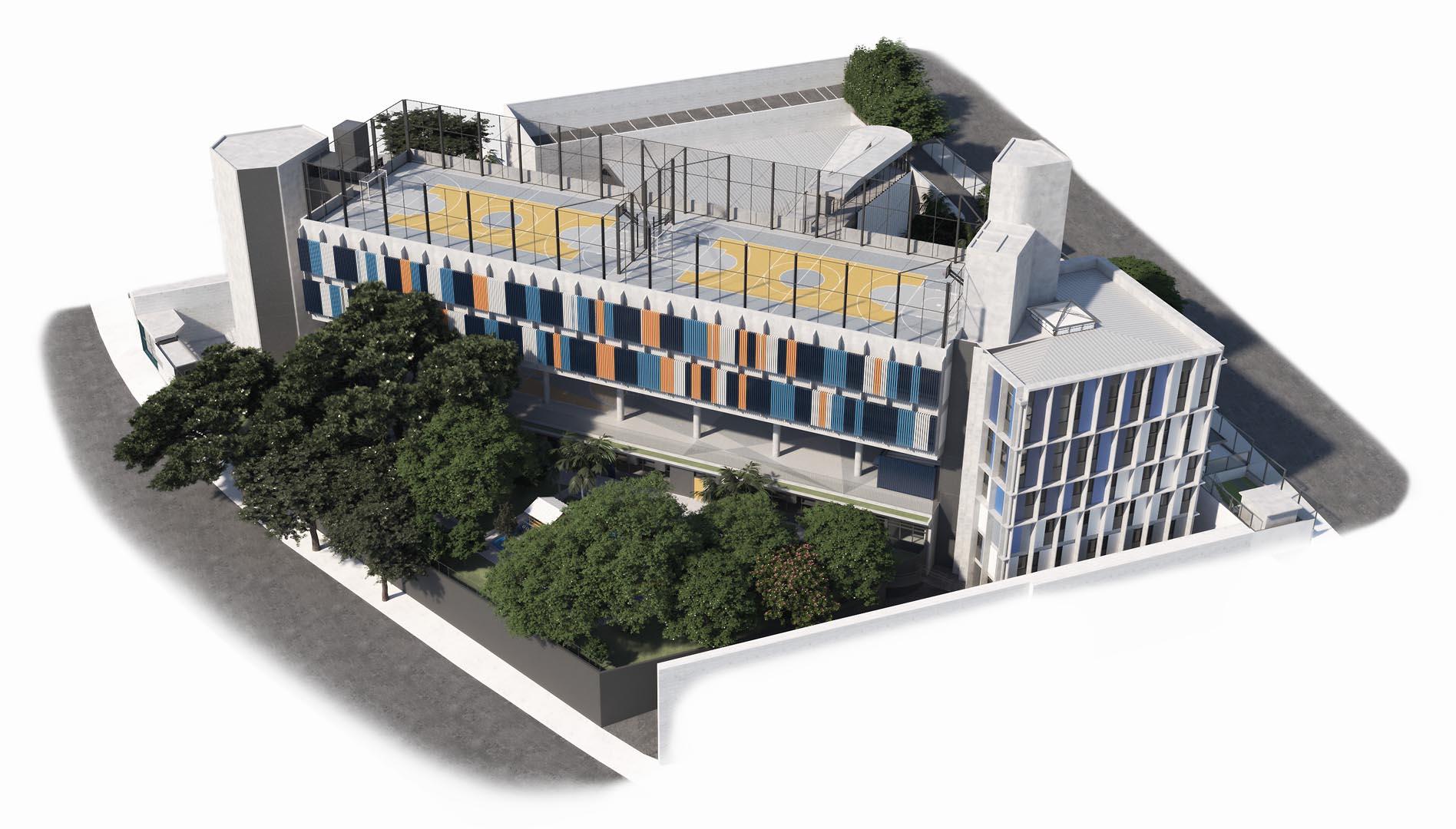 Vista aérea da Avenida Mascote - Nova unidade do Colégio Etapa