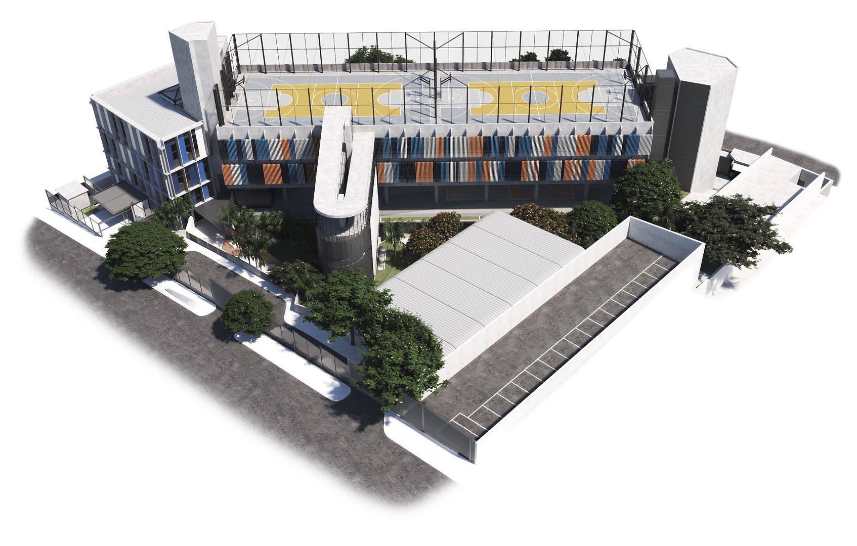 Vista aérea da Rua Palestina - Nova unidade do Colégio Etapa