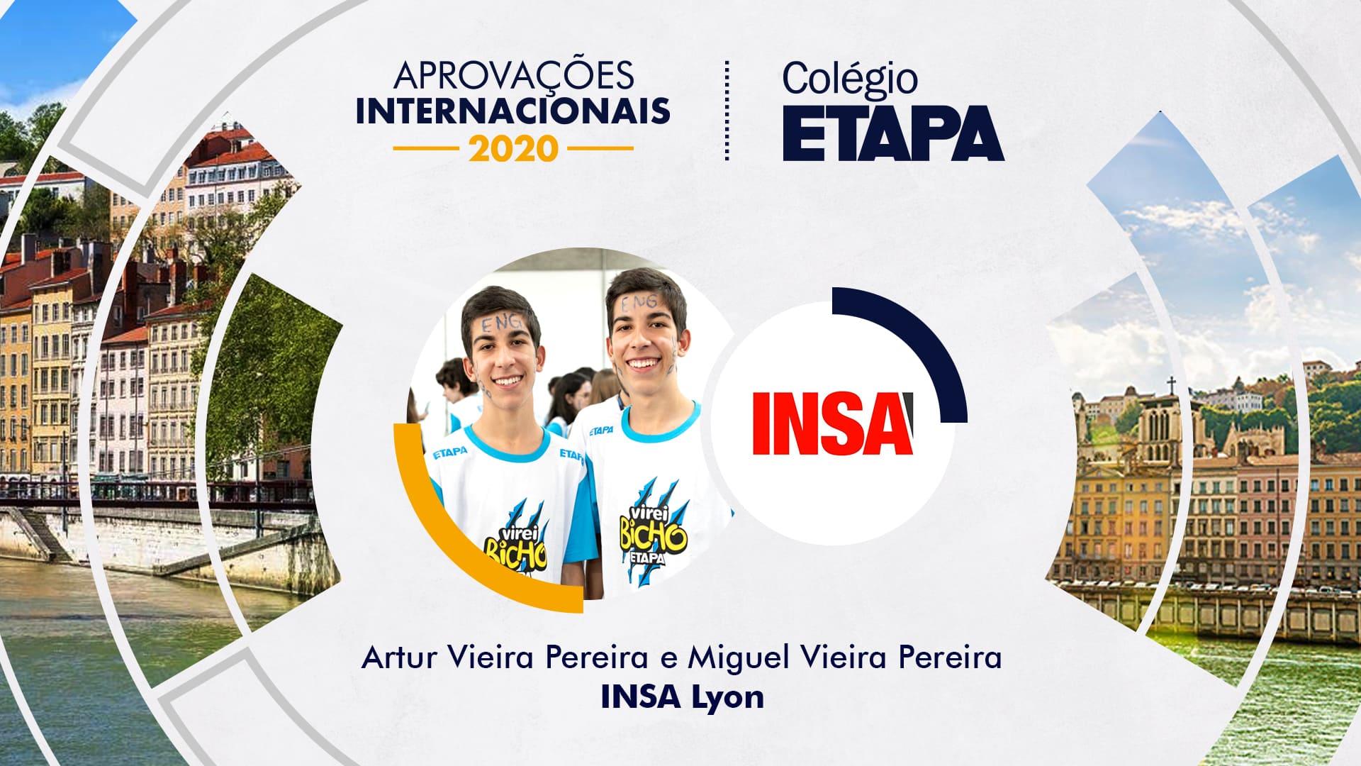 Artur e Miguel Vieira Pereira foram aprovados no Institut National des Sciences Appliquées, uma das melhores universidades de Engenharia da França.
