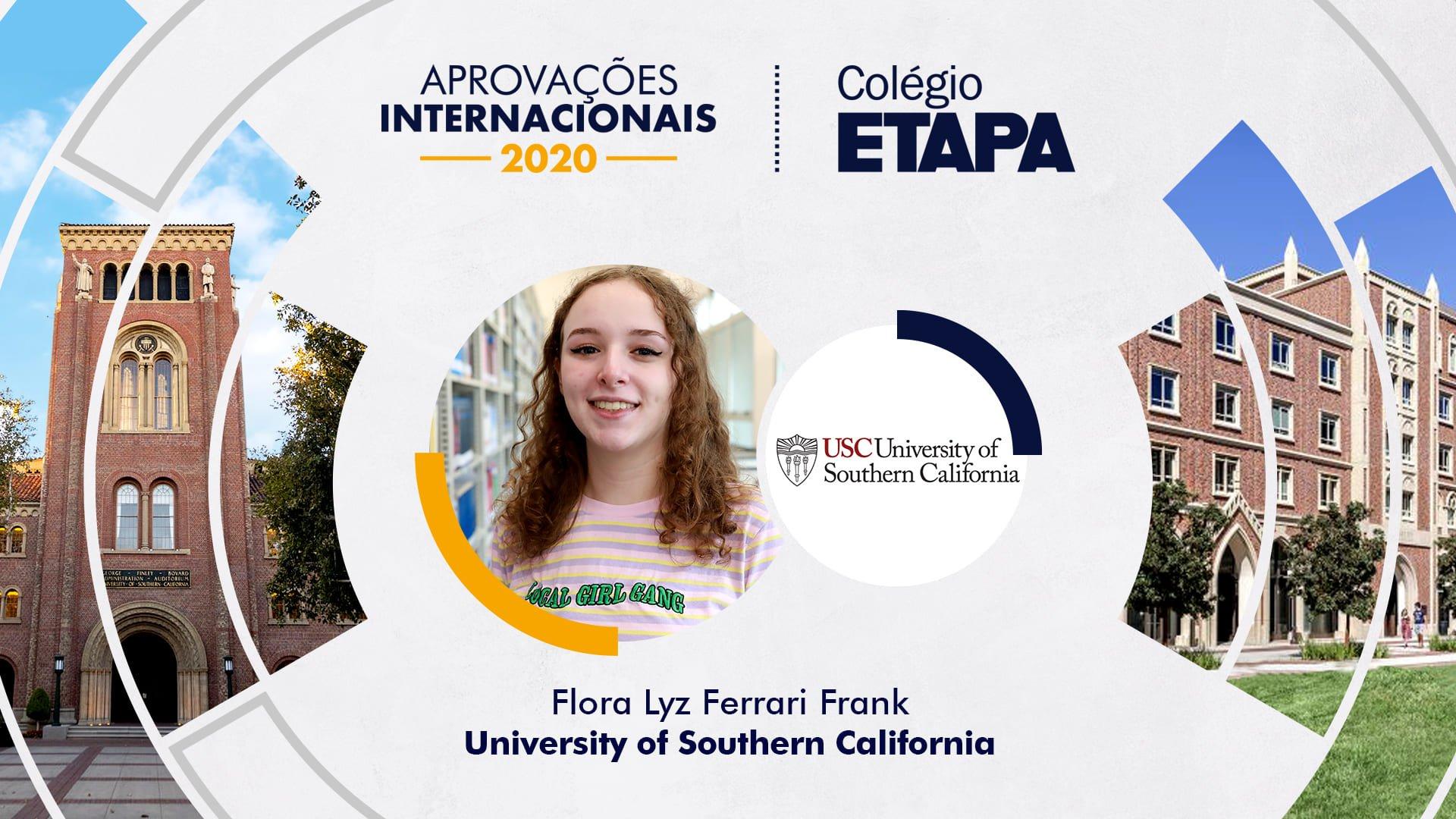 Flora Lyz Ferrari Frank vai estudar Cinema e Animação na USC.