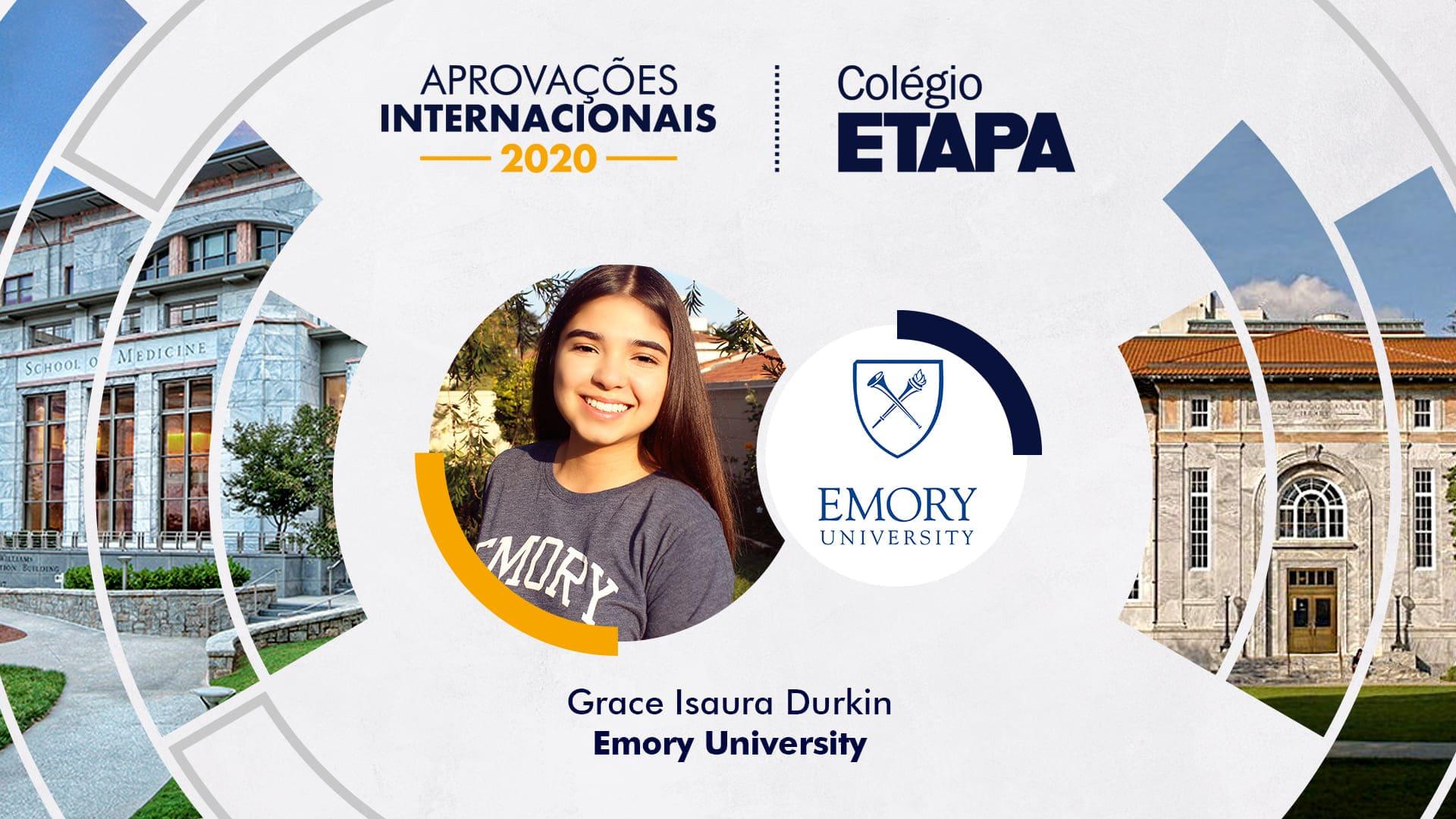 Grace Isaura Durkin iniciou os estudos no Etapa, motivada pela tradição do Colégio em aprovar alunos no exterior.