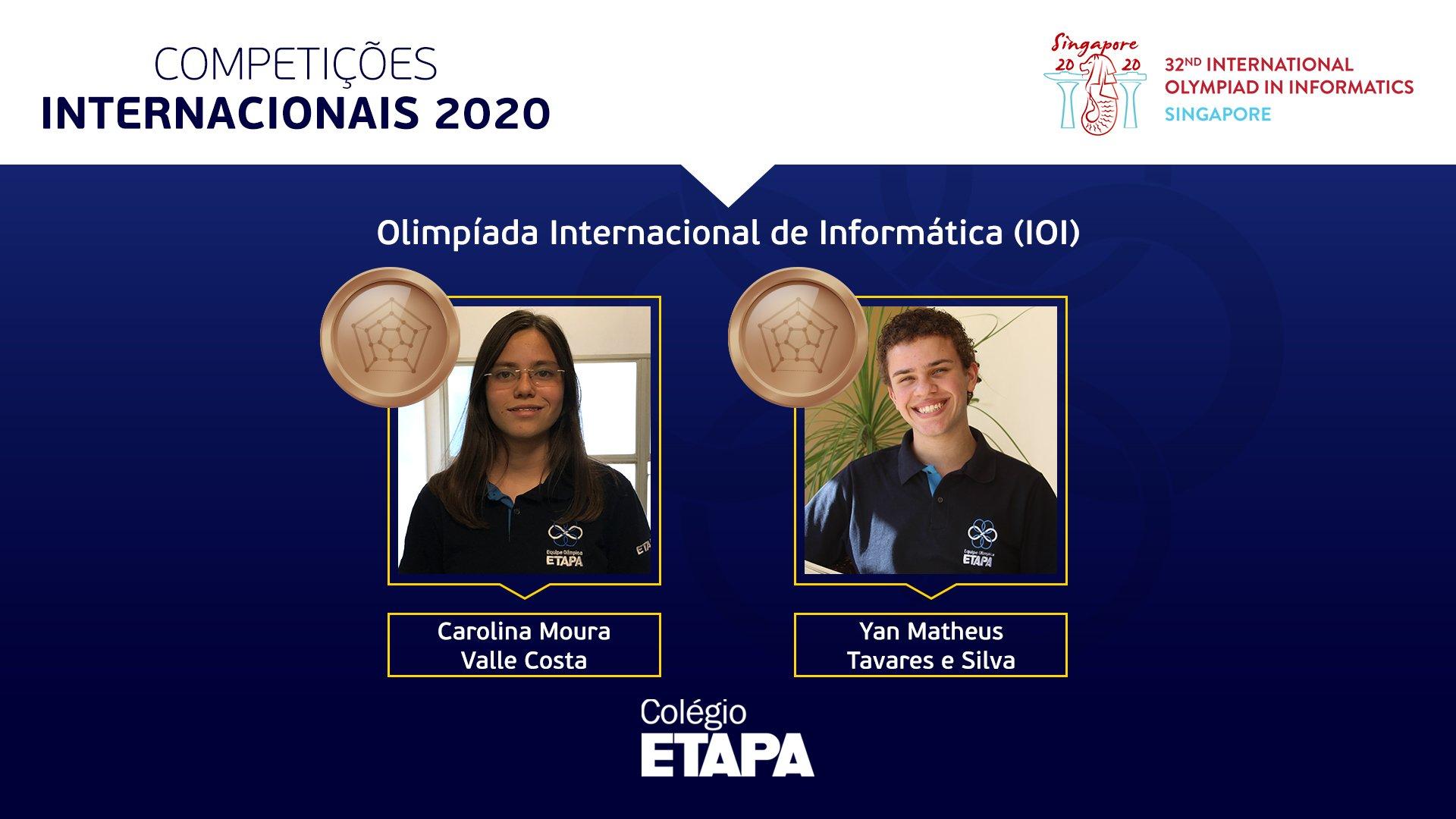 Alunos do Colégio Etapa são premiados na IOI 2020