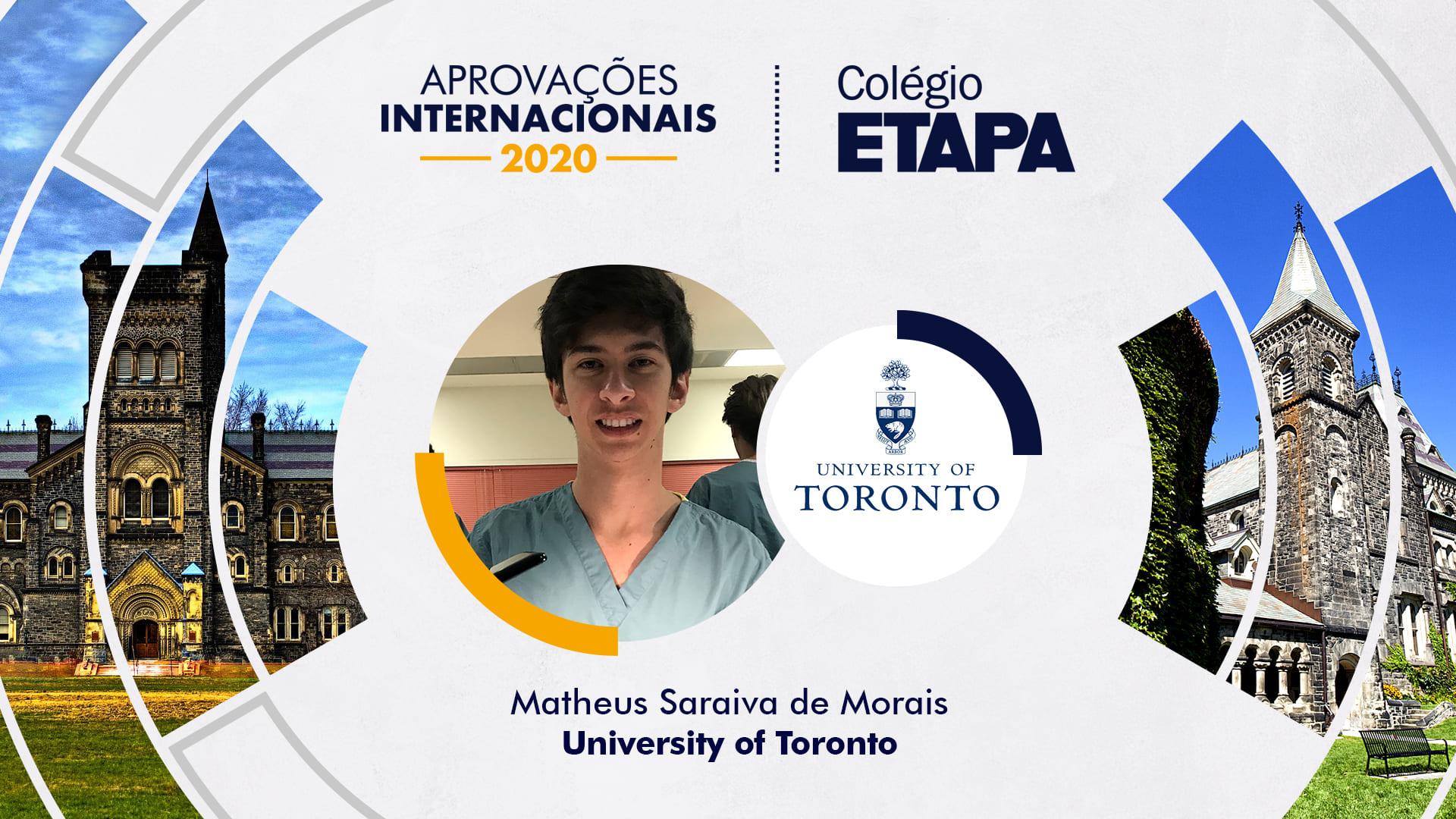 Aprovações Internacionais 2020: Matheus Saraiva de Morais
