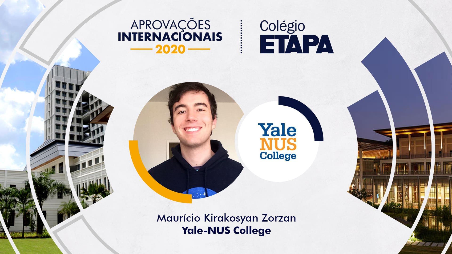 Maurício Kirakosyan Zorzan é o primeiro aluno do Etapa a conquistar uma aprovação melhor universidade liberal arts da Ásia.