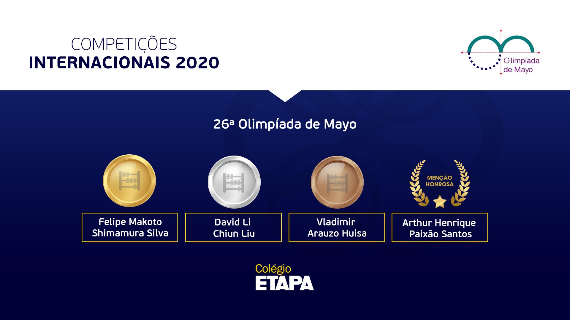 Alunos do Etapa são premiados na Olimpíada de Maio 2020