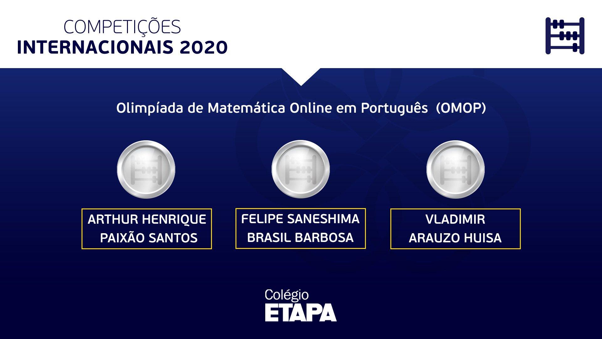 Alunos são premiados na Olimpíada de Matemática Online em Português