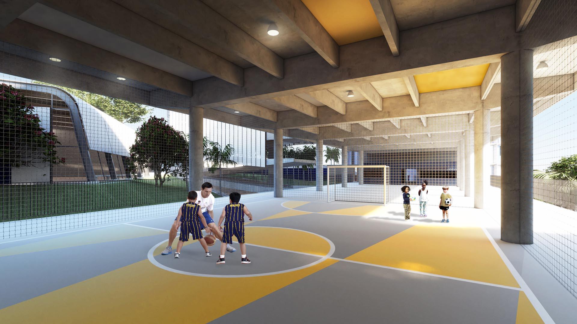 Quadra coberta - Nova unidade do Colégio Etapa