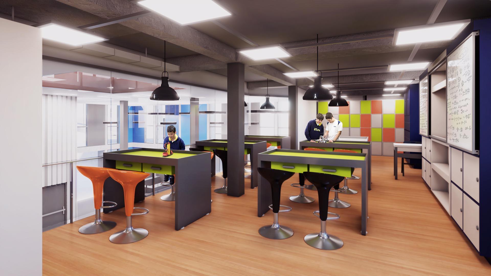 Sala de Robótica - Nova unidade do Colégio Etapa