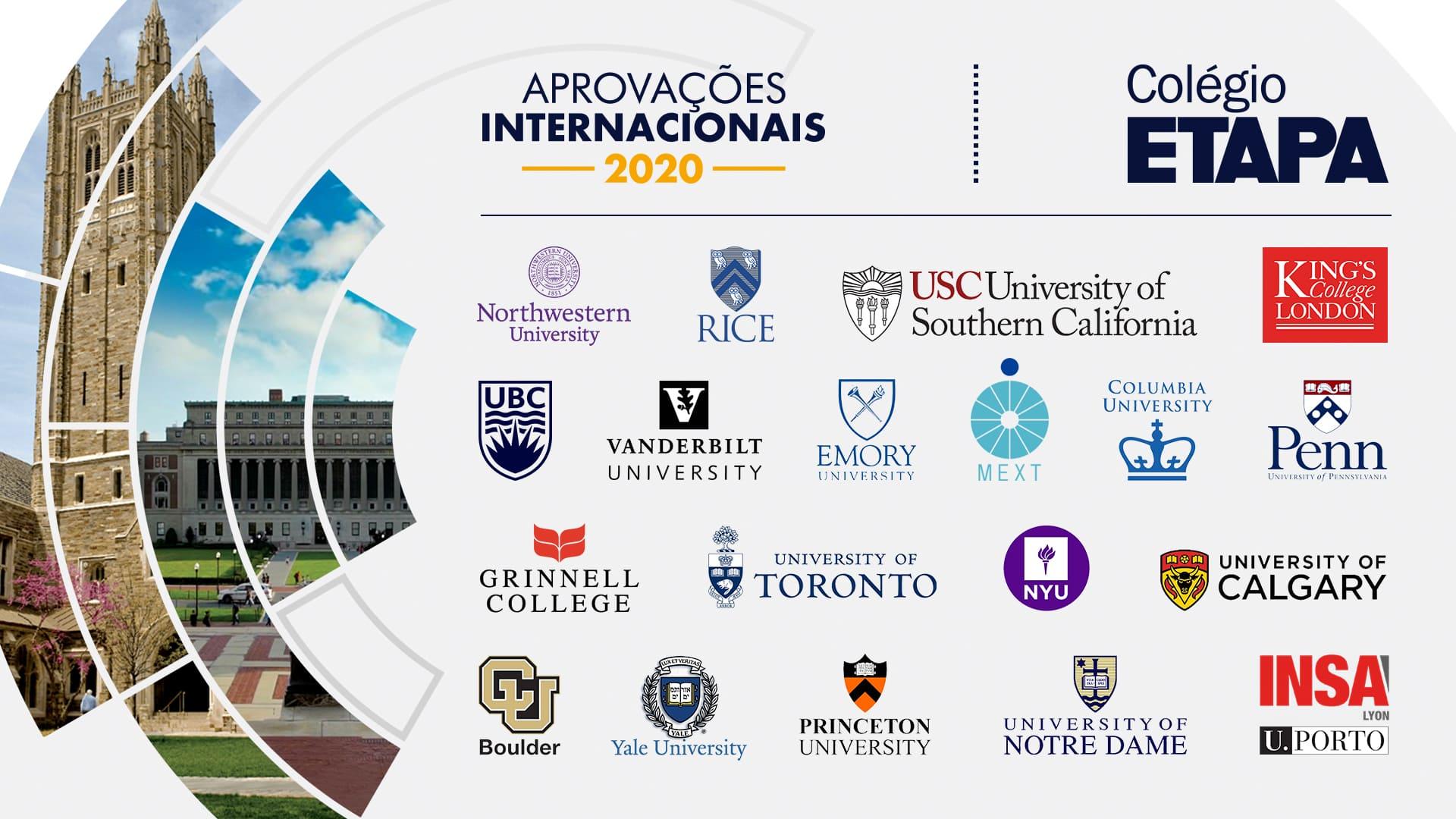 """""""Acredito que a minha preparação foi beneficiada pelo histórico do Etapa em aprovar estudantes no exterior"""", conta uma das aprovadas."""