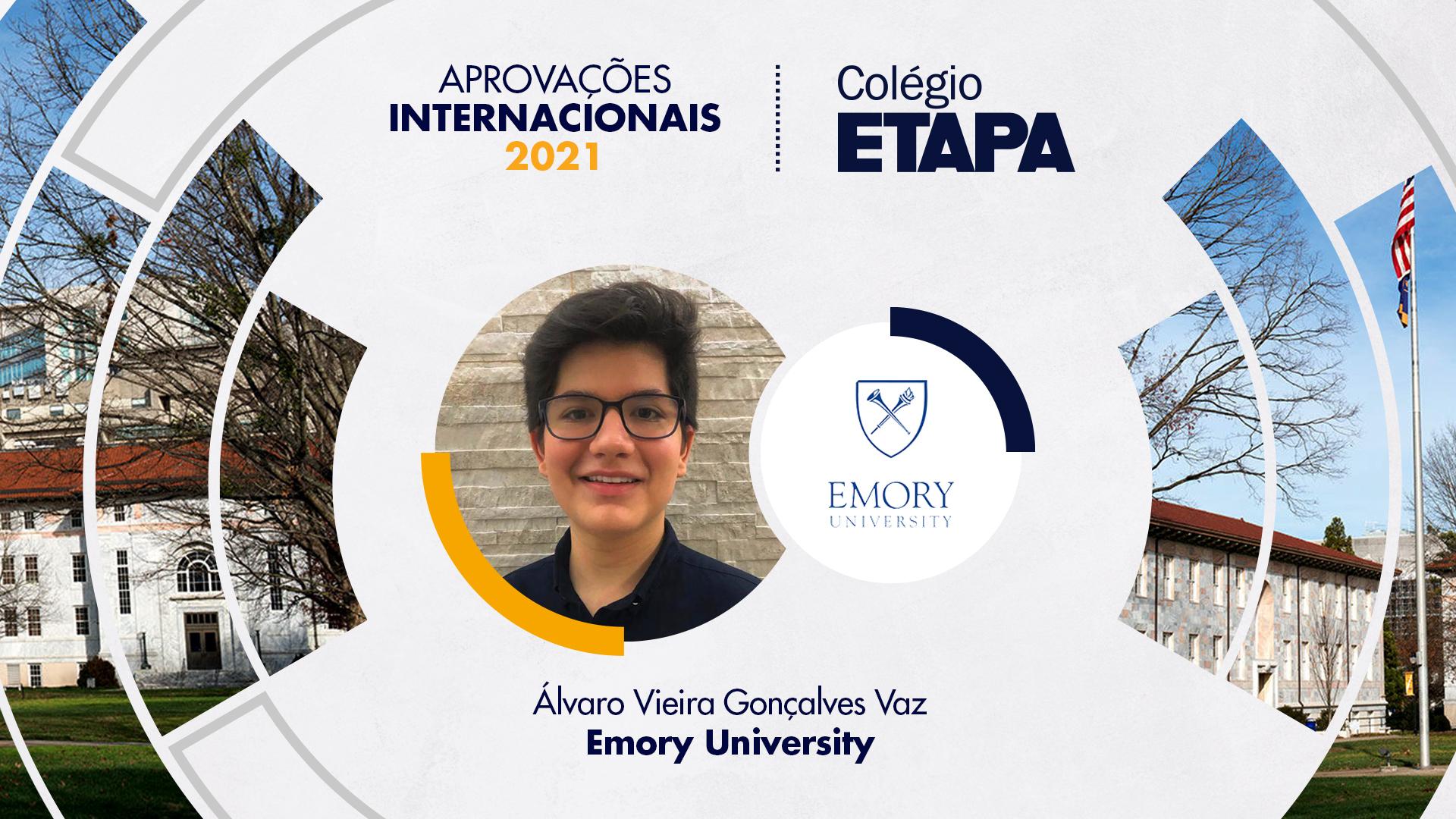 Álvaro Vieira Gonçalves Vaz vai estudar Negócios e Ciência da Computação na Emory University.