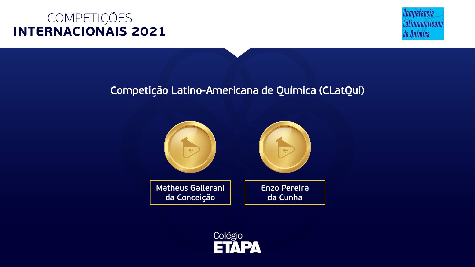 Matheus e Enzo conquistaram, respectivamente, o 1º e o 2º lugar na classificação geral do Nível Básico da CLatQui 2021.