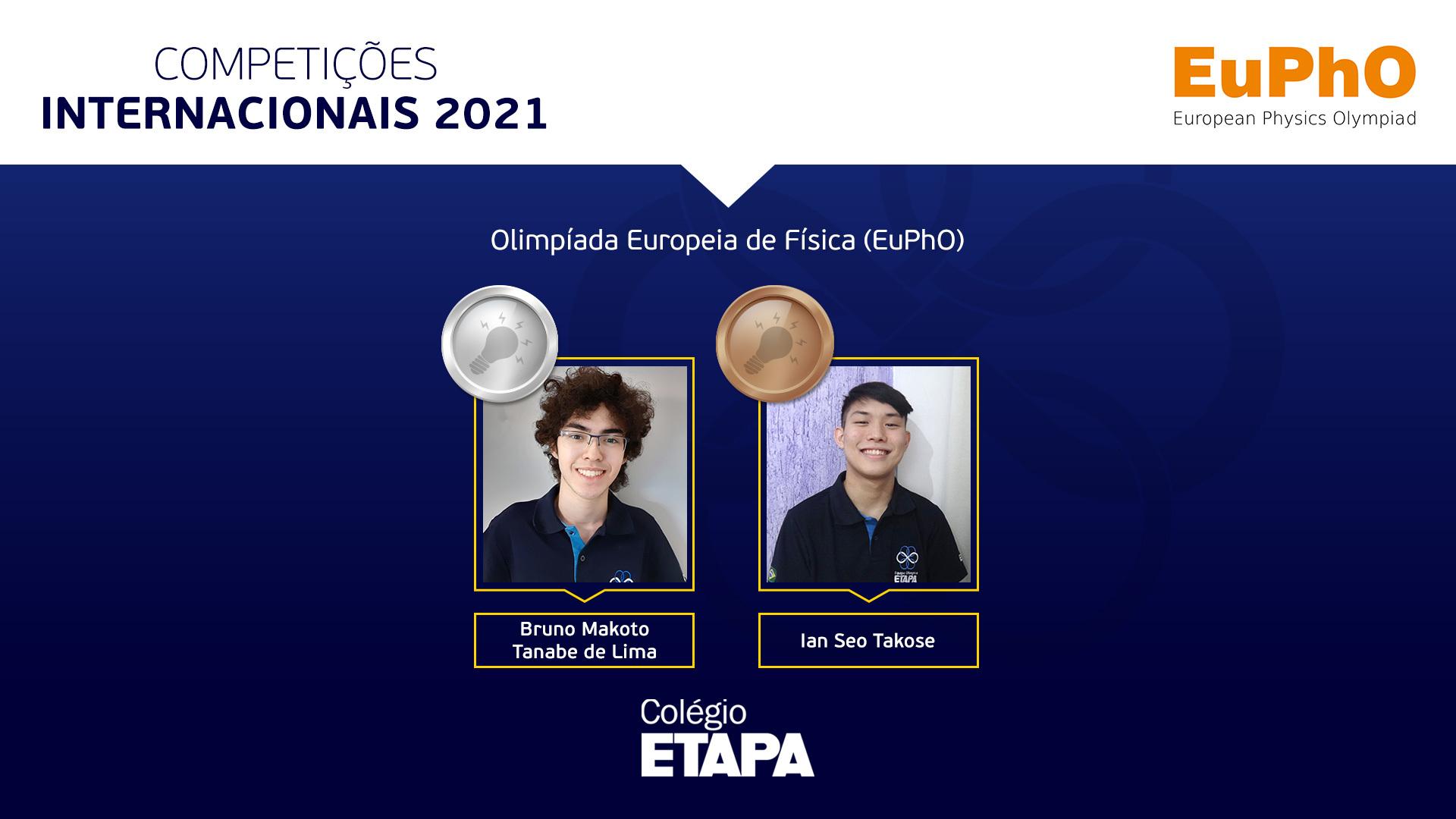 A delegação brasileira conquistou duas medalhas de prata e três de bronze na EuPhO 2021.