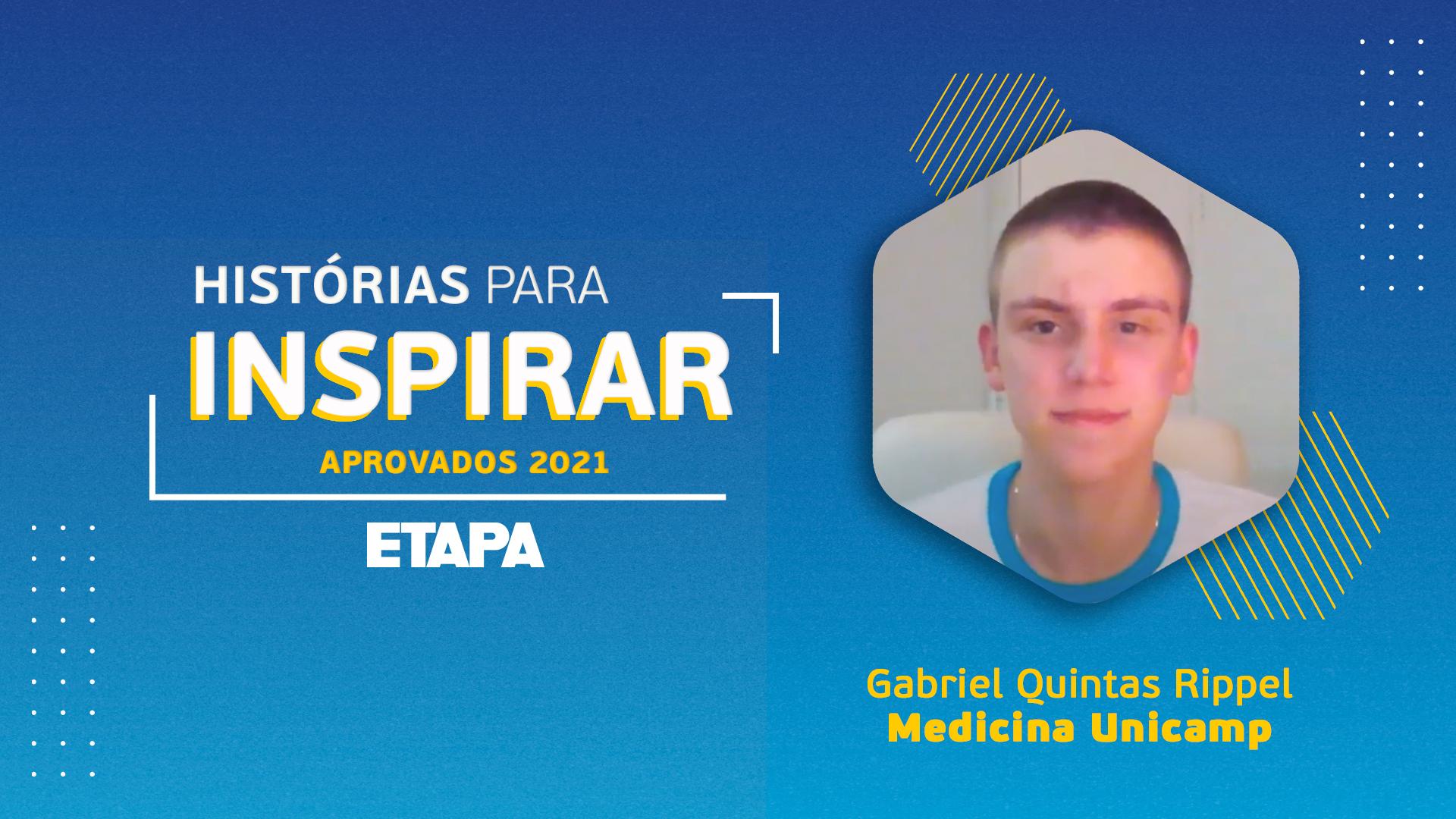 Gabriel Quintas Rippel afirma que as apostilas de revisão do Etapa foram fundamentais para sua preparação.