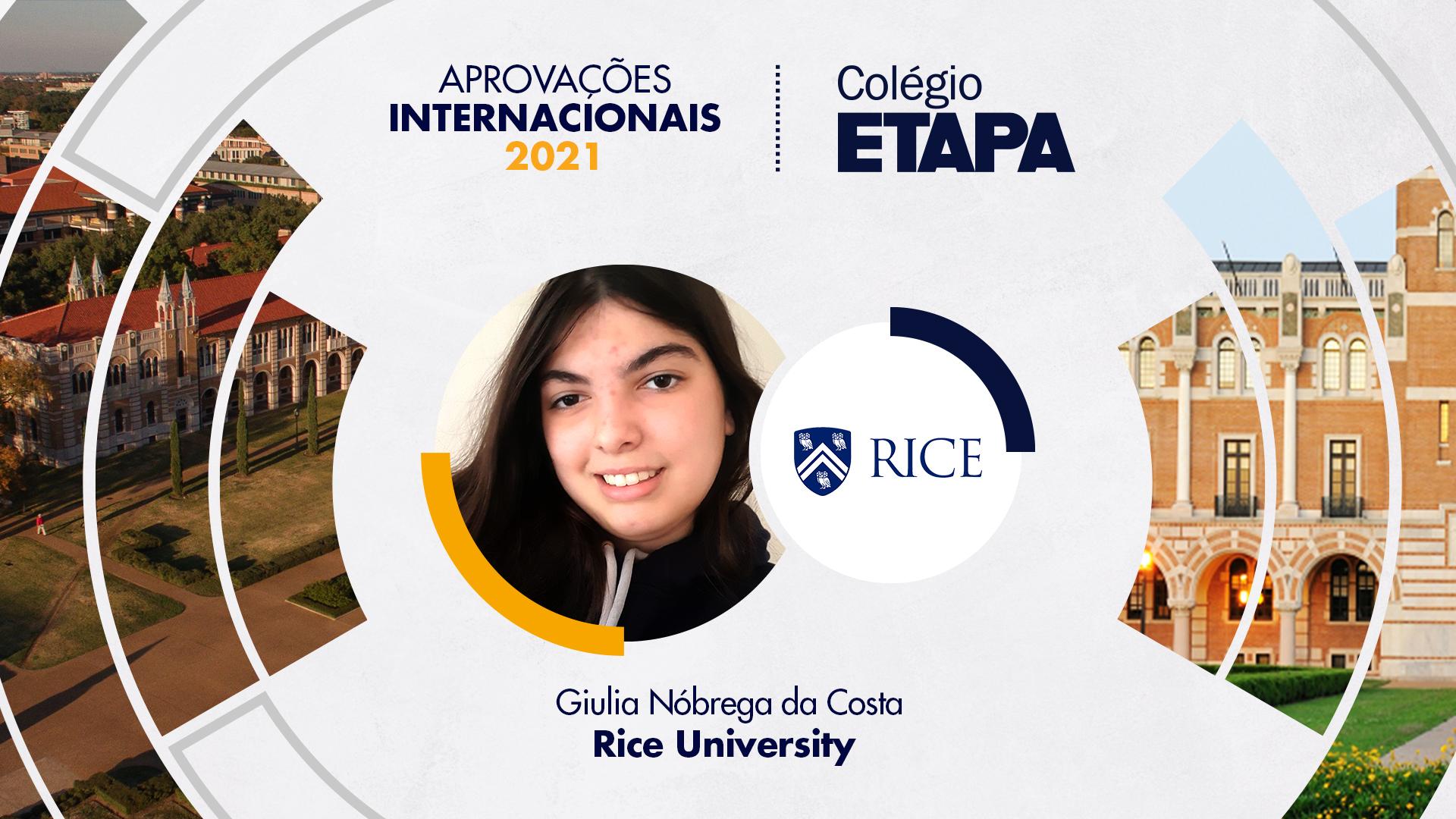 Aprovações Internacionais 2021: Giulia Nóbrega da Costa