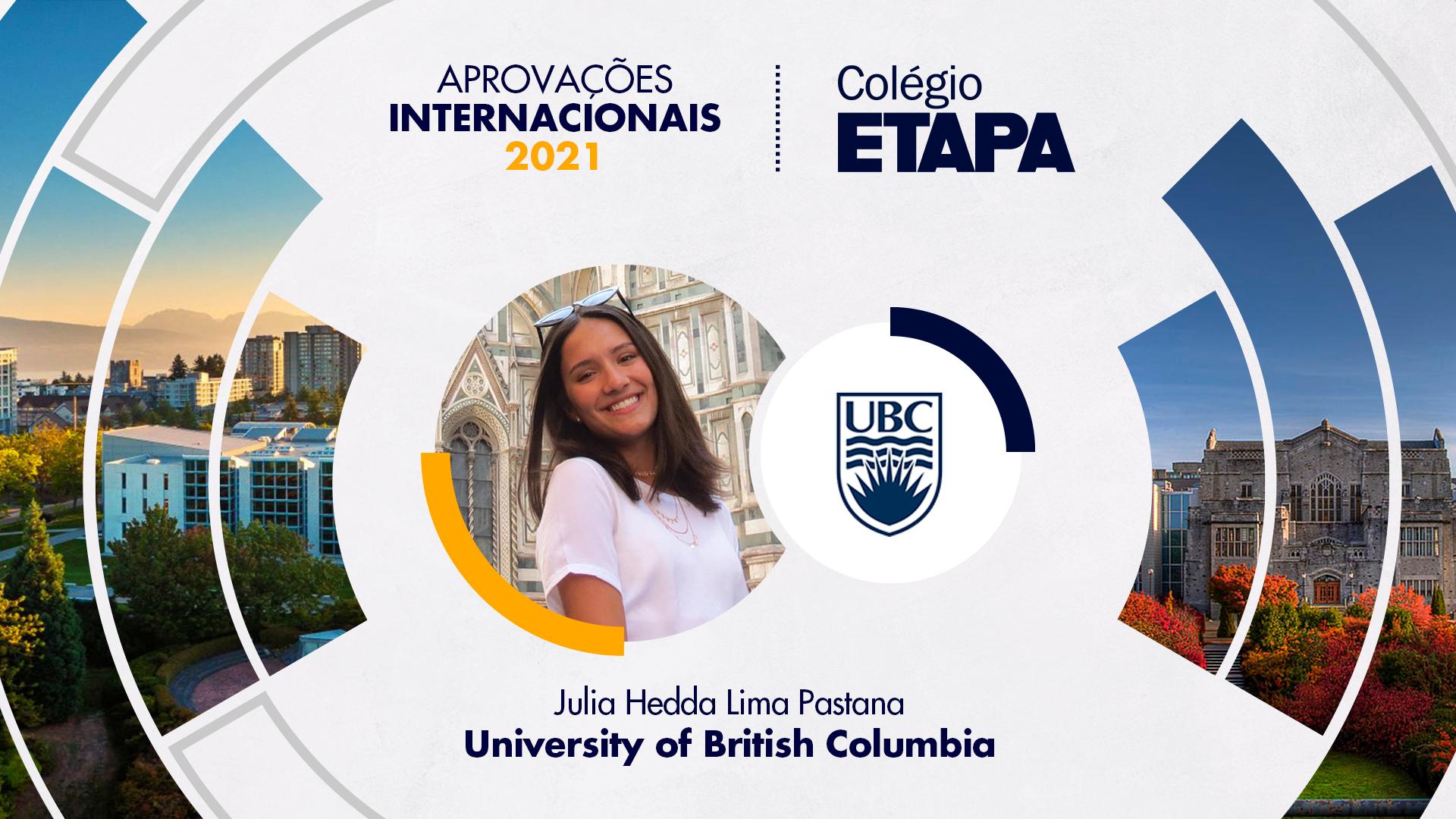Aprovações Internacionais 2021: Julia Hedda Lima Pastana