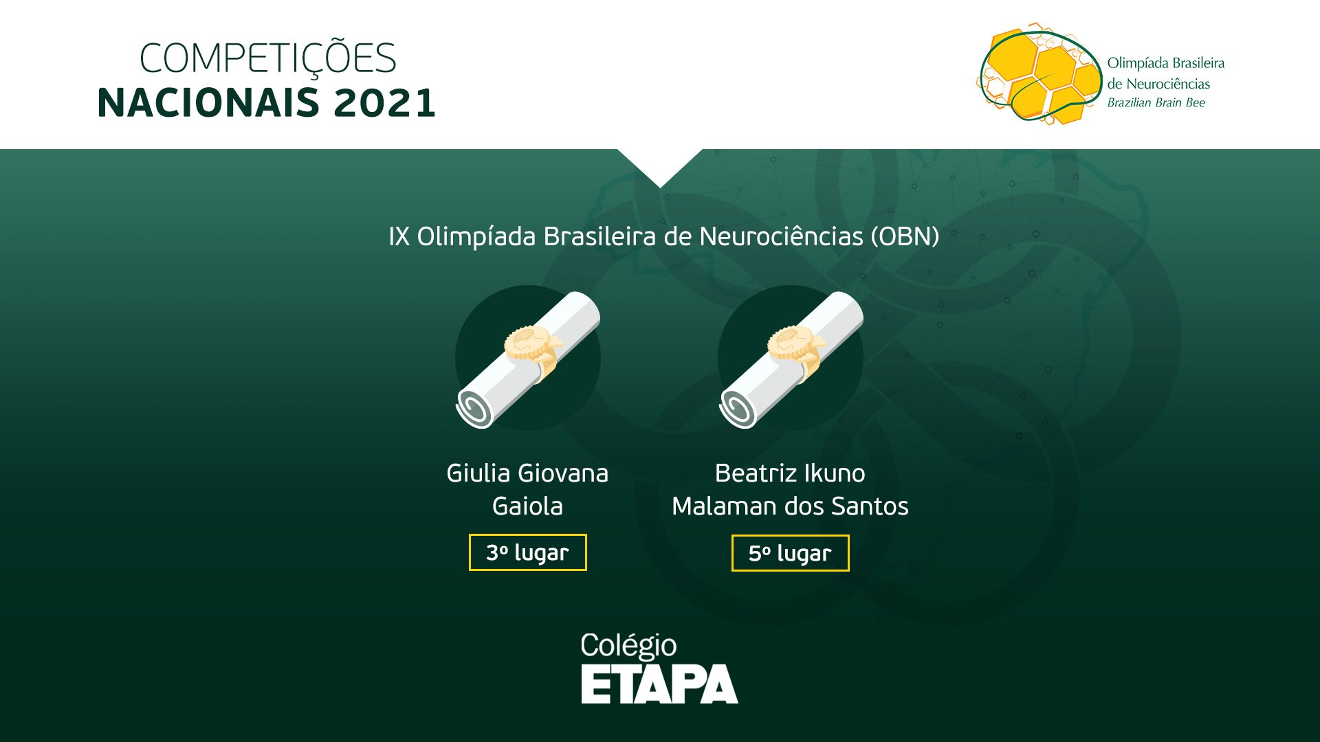 Alunas do Colégio Etapa são premiadas na OBN 2021