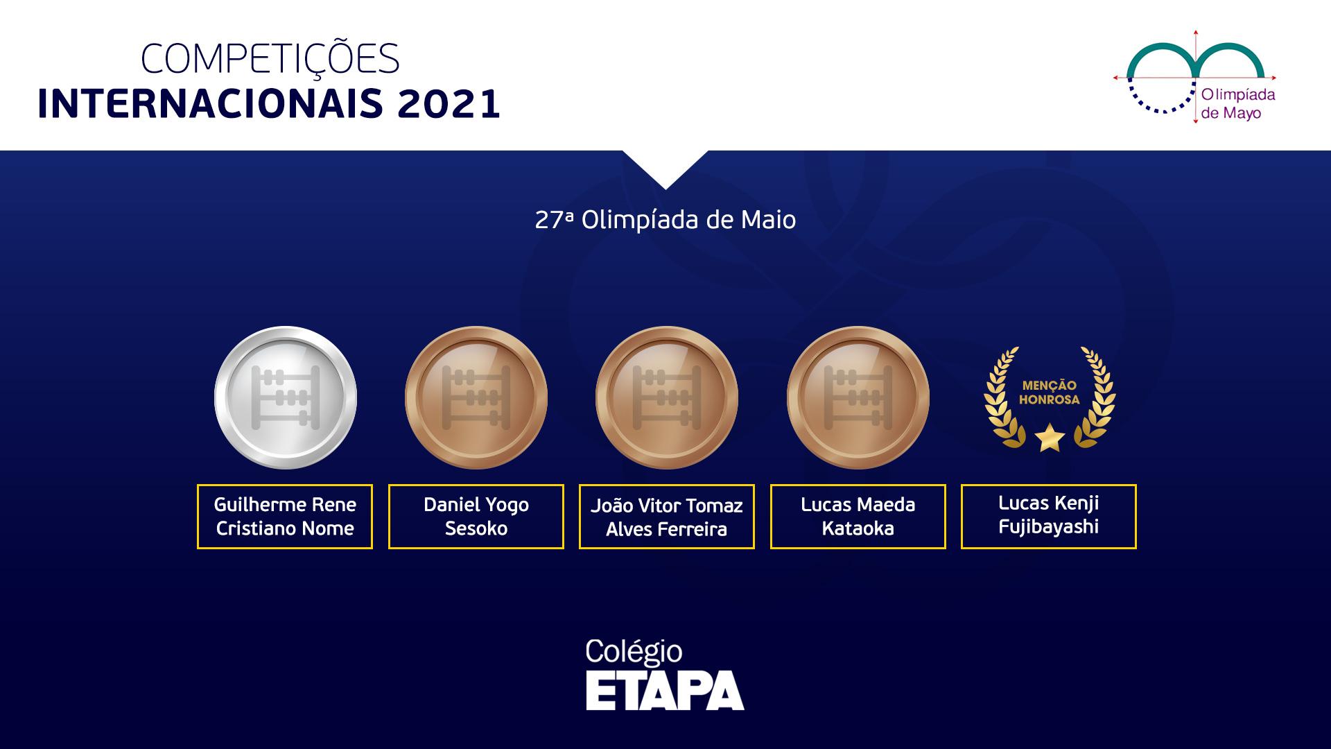 Alunos do Etapa são premiados na Olimpíada de Maio 2021