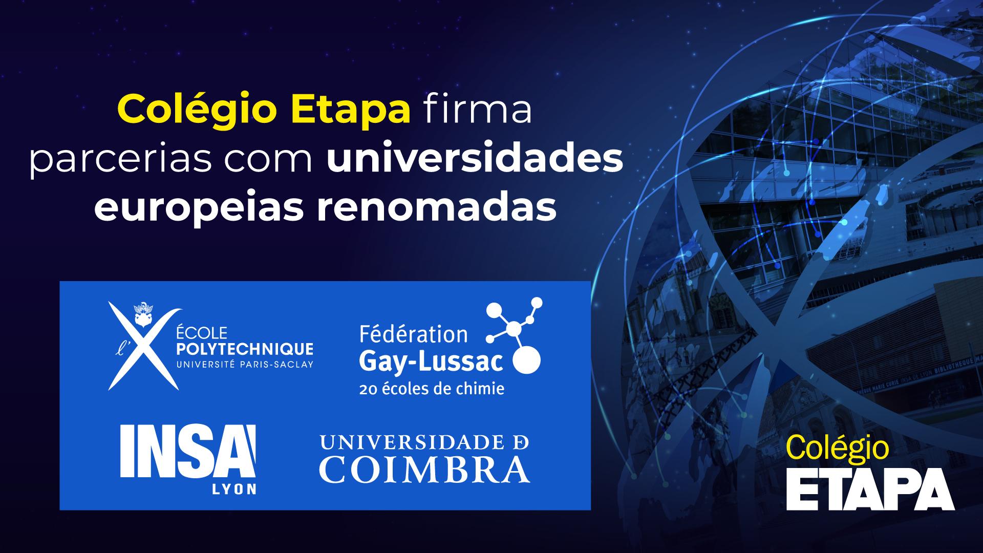 Subiu para quatro o número de parcerias com universidades europeias renomadas firmadas com o Colégio Etapa. Saiba mais no post!